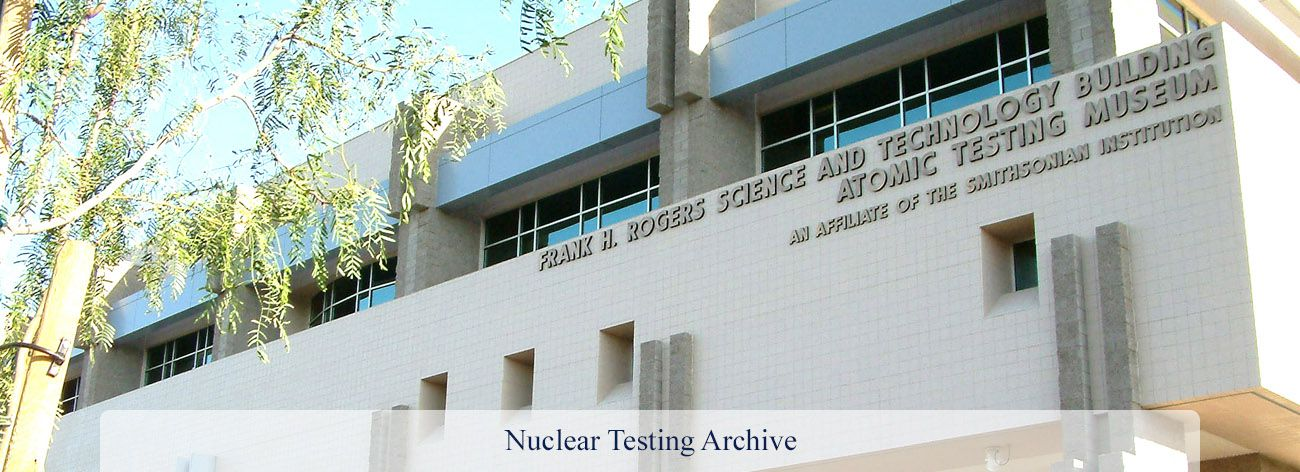 Nuclear Testing Archive banner