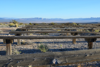 benches overlooking Frenchman Flat